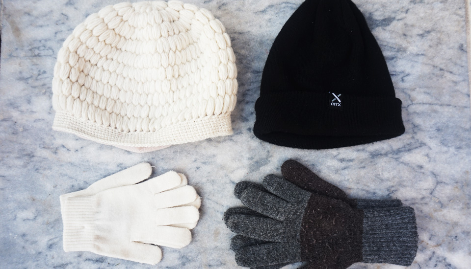 winter essentials accessories wool beanie and gloves